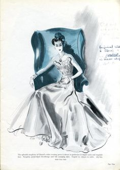 CHANEL - Here is a picture of a CHANEL gown from the September 1938 Harrods fashion catalogue. The gown gets a page to itself and pride of place in the catalogue, which demonstrates the importance of CHANEL at the time.