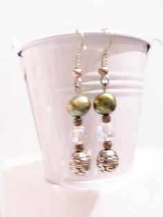 Olive green freshwater pearl Swarovski crystal earrings by SparkleandComfort, $12.00