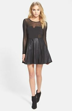 MINKPINK 'Pump Up the Glam' Mesh & Faux Leather Skater Dress available at #Nordstrom