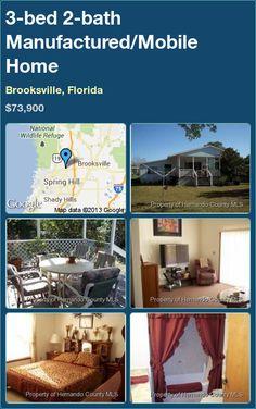 3-bed 2-bath Manufactured/Mobile Home in Brooksville, Florida ►$73,900 #PropertyForSale #RealEstate #Florida http://florida-magic.com/properties/9285-manufactured-mobile-home-for-sale-in-brooksville-florida-with-3-bedroom-2-bathroom