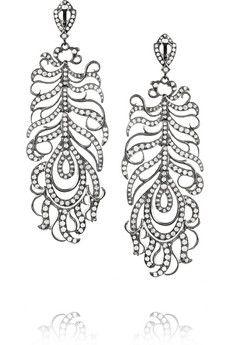 Loree Rodkin Feather 18-karat rhodium white gold diamond earrings | NET-A-PORTER