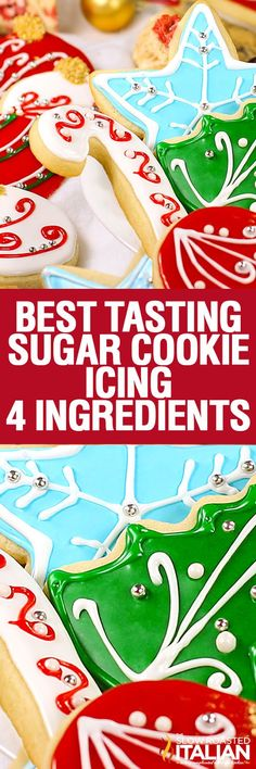 Best Tasting Sugar Cookie Icing – 4 ingredients and 5 minutes! People have been … Best Tasting Sugar Cookie Icing – 4 Ingredients and 5 Minutes! People have been begging for this icing recipe for years. Now you have it! Christmas Sugar Cookies, Christmas Sweets, Christmas Cooking, Noel Christmas, Holiday Cookies, Christmas Candy, Icing For Sugar Cookies, Frosted Sugar Cookies, Buttery Cookies