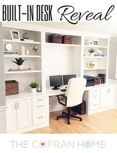A stunning transformation of space in this Built In Desk Reveal! You will not be… – Home Office Design Diy Office Built Ins, Built In Desk, Built In Cabinets, Office Wall Cabinets, White Desk With Bookcase, Wall Unit With Desk, Living Room With Desk, Built In Cupboards Bedroom, Wall Cabinets Living Room