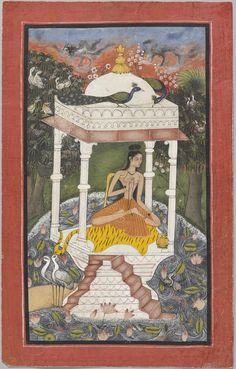 Gauda Malhara Ragini, Bundi, c. 1670. Opaque pigments with gold on paper, within a broad red frame. Photo courtesy Francesca Galloway.