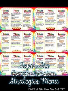 Engage your students in using the Super Six Comprehension Strategies with this fun food themed menu of activities! 6 menus and an instruction page are included. The Super Six Strategies are; 1) Visualising 2) Predicting 3) Making Connections 4) Questioning 5) Summarising 6) Monitoring