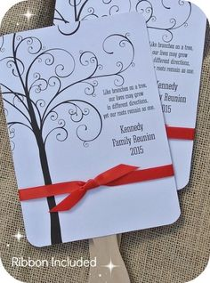 Personalized Family Reunion Favor Fans - fully assembled - choice of color ribbon included