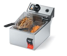 VOLLRATH Electric Fryer, single fry pot, 10 lb, fat capacity, twin basket, 122°F - 374°F thermostatic control, lift-up elements, lift out stainless steel pot, stainless steel exterior, 1.8 kw, 110v/60/1-ph, model# FFA7110 @$311.36