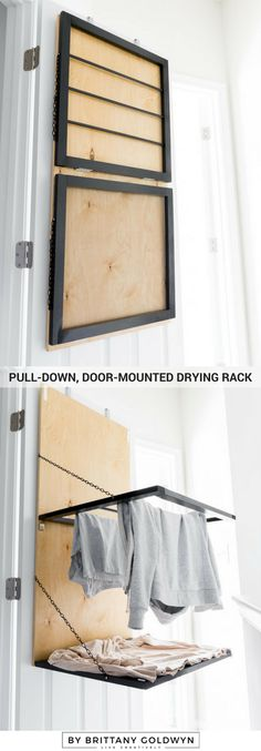 Today Im sharing the build plans for the pull-down, door-mounted drying rack I made. Bonus: It has a spot for drying sweaters. - Diy for Home Decor Laundry Room Inspiration, Diy Laundry, Decor, Diy Home Decor, Home, Home Diy, Diy And Crafts, Diy Furniture, Diy Clothes Drying Rack