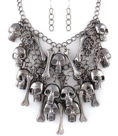 Skulls and Bones Statement Necklace Earrings Set (Hematite) - $36