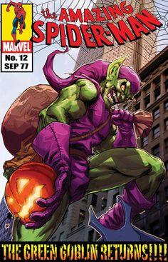 Green Goblin Strikes Back by MiaCabrera on DeviantArt Marvel Comics Art, Marvel Villains, Fun Comics, Marvel Dc Comics, Comic Book Covers, Comic Books Art, Comic Art, Green Goblin Spiderman, Goblin Art