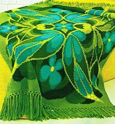 """Crochet Afghan Pattern - Vintage 70's """"butterfly"""" Afghan - PDF Pattern - Afghan…"""