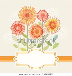 Vector background with stylized flower, leaves and ribbon. Invitation and greeting card with bunch of chrysanthemums. Decorative floral abst...