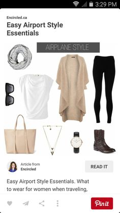 Love the white shirt (if not see through) Easy Airport Style Essentials. What to wear for women when traveling, and on the plane. Flying outfit for women. Travel Wear, Travel Style, Travel Fashion, Travel Packing, Travel Boots, Packing Tips, Travel Chic, Packing Outfits, Hiking Style