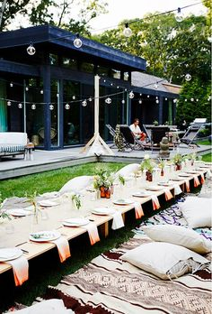 Outdoor table set for a dinner party