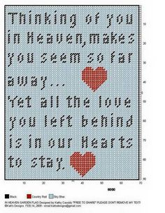 """Thinking of you in Heaven, makes you seem so far away... Yet all the love you left behind is in our Hearts to stay."" wall hanging"