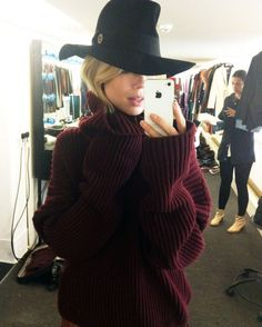Blogger Elin Kling boho fab in a wide brimmed hat by Emilio Pucci and oversize Cèline style knit in Fall 2012's gorgeous burgundy color