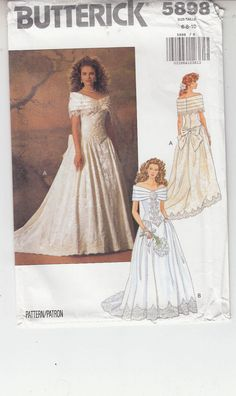 Wedding Gown Fit Flare Off Shoulder Full Length Butterick Pattern 5898 6-10 #Butterick #offshoulderweddinggown