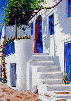 Landscape Painting - Mykonos by Lesuisse Viviane