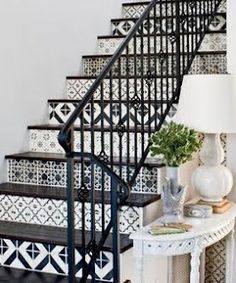 Black and white stair risers.