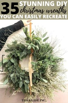 Wow!! This post is filled with all the most genius Christmas wreath ideas!! I am so happy I found it. I have been looking for a post like this. Christmas Wreaths For Windows, Christmas Decorations For The Home, Diy Christmas, Green Wreath, Wreath Ideas, Decor Ideas, Happy, Ser Feliz, Being Happy