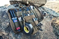 gunsngear:      1st line EOD tool kit      The EOD 1st line tool kit is designed to enhance EOD and bomb technicians' capabilities by providing two fully populated pouches with essential operator tools. The vest worn immediate action pouch consists of tools and additional molle attachments. The secondary pouch consists of vital tools in an easy to carry form factor suited for a cargo pocket or backpack.