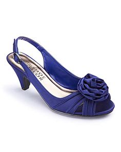 Midnight blue Low heel slingback with corsage detail. Available in 5 colours and different width fittings