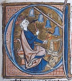 Ringing bells with harp, holly-leaf citole and lute/gittern at his feet. Pierpont Morgan Library, manuscript. G.2, folio 106r. http://corsair.themorgan.org/cgi-bin/Pwebrecon.cgi?BBID=257580