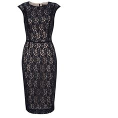 French Connection lace sheath dress is super chic day or night. Pair with skyscraper heels and a patent clutch for polished flair. Angela Lace Dress is fully lined with a lace overlay, round neck, cap sleeves and a concealed zip at back with hook fastening at back of neck.