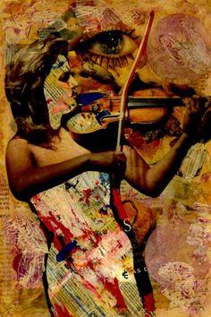 """Saatchi Art Artist CARMEN LUNA; Collage, """"32-Collagemania Carmen Luna. Anne Sophie Mutter."""" #art"""