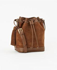Ann Taylor s Essex Drawstring Suede Crossbody Bag in Dark Camel brown.  Structured Bag, Satchel 3abb503dd4