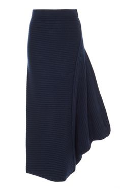 JW Anderson's 'Infinity' skirt has been made from navy merino wool in an asymmetrical rib-knit. Designed with a comfortable elastic waistband, this style is sure to fit you perfectly.