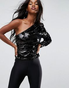 ASOS Ultimate Sequin One Shoulder Top - Black