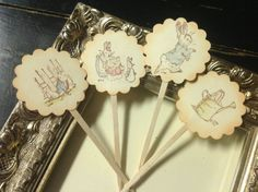 Peter Rabbit  Cupcake TopperBeatrix Potter by YellowFlowerDesigns, $14.00