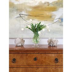 Luc Leestemaker painting, Kathryn McCoy quartz votives, antique chest, Amy Meier Design Studio - Rancho Santa Fe, CA