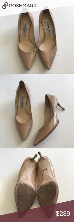 Jimmy Choo Nude Romy 60 patent pump  Heels Pre loved . Sold as is - some flaws (Black /brown marks - shown in photos and the left heel scuff. Jimmy Choo Shoes Heels