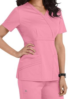 Cherokee Luxe Collection mock-wrap scrub top. Main Image
