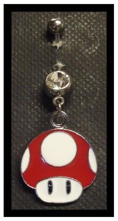 Geeky belly button ring. Mario Red Mushroom Navel
