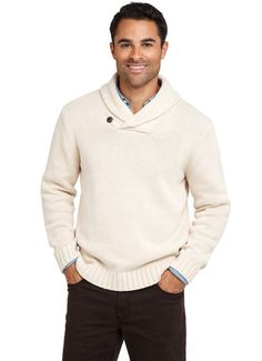 Heavy Gauge Cotton Natural Shawl Collar Sweater - Oh no. I'm starting to like the shawl collar...