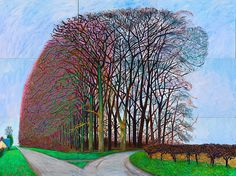 David Hockney. Bigger Trees Nearer Warter, Winter 2007. Oil on canvas, sixpanels,108 x 144""