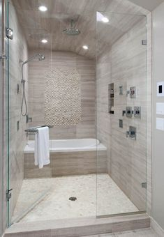BATH in Shower area... Add Steam :)) Standing white pebble tile on shower wall and white pebble tile on shower floor.
