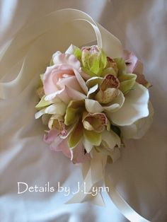 Real touch / Latex Rose and Orchid Kissing Ball by detailsbyjlynn, $50.00
