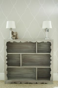 the stenciled wall & grey washed bookcase...kristen f. davis...so talented!