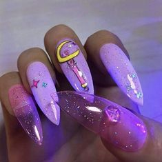 Discovered by Quo. Find images and videos about nails, purple and nail art on We Heart It - the app to get lost in what you love. Aycrlic Nails, Stiletto Nails, Swag Nails, Sailor Moon Nails, Ghetto Nails, Kawaii Nails, Jelly Nails, Fire Nails, Best Acrylic Nails
