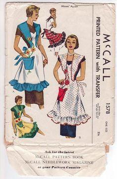 Vintage McCall Apron Pattern 1578 One Size Applique Flower Pot Pocket 1950