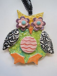 Items similar to Whimsical Owl Ceramic Ornament on Etsy
