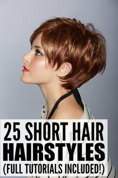 25 Short Hairstyles For Women. Full tutorials included! #hairstyles #ShortHairstyles #video