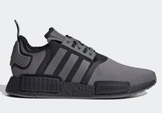 Color: Grey Four/Grey Four/Core Black Style Code: FV1733 While once at the top of the sneaker game, the adidas NMD R1 has been relegated to the rare though well-met general release. And while not as coveted as it used to be in its heyday, the silhouette has still retained a dedicated following for its comfort and aesthetics. After an Olympics-themed colorway and a few more bold colors, it looks like the brand is providing a mostly versatile colorway composed of black and grey… Adidas Nmd R1, Adidas Sneakers, Sneaker Games, Black Edition, Air Max 97, Black Style, Bold Colors, New Trends, Olympics
