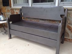 Bench made from a bed frame