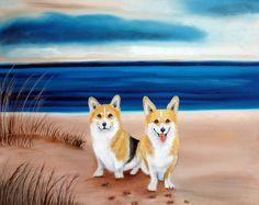 Pembroke Welsh Corgis Painting on Beach Fine Art Prints by Carol Iyer