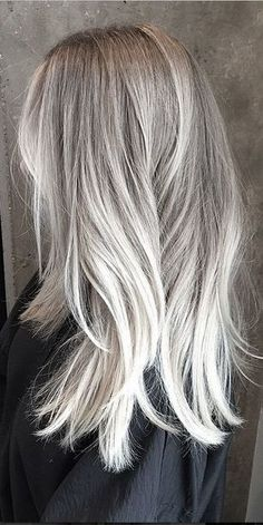 Image result for silver balayage straight hair